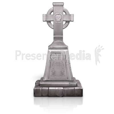 Tall Grave Cross Skull Presentation clipart