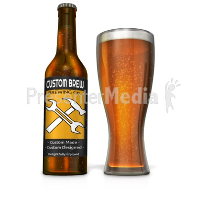 Custom Beer Bottle with Filled Glass Presentation clipart
