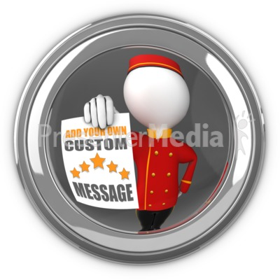 Bell Hop In Eyehole Holding Sign Presentation clipart