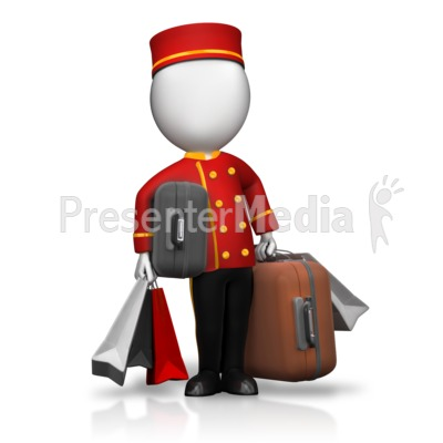 Bellhop Holding Lots of Luggage Presentation clipart