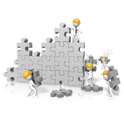 Puzzle Wall Construction Team - Presentation Clipart - Great