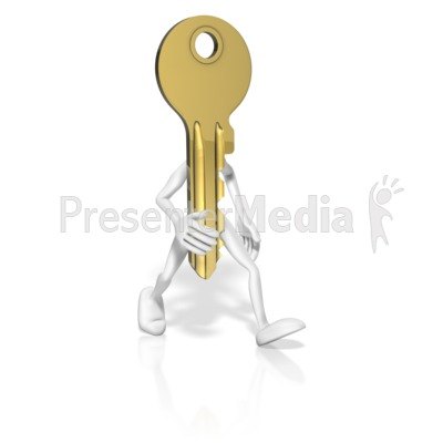 Key With Arms Legs Presentation clipart