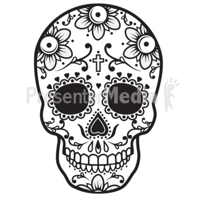 Sugar Skull Black White Signs And Symbols Great Clipart For