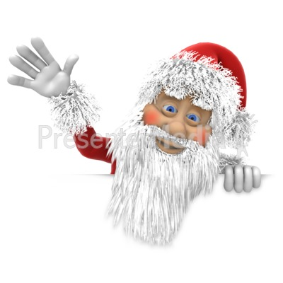 Santa Waving Above Wall Presentation clipart