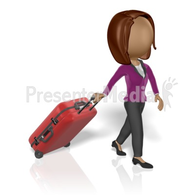 Business Woman Pull Luggage Presentation clipart