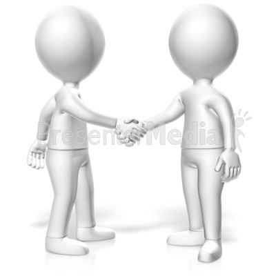 Handshake Two Monochromatic Figures Presentation clipart