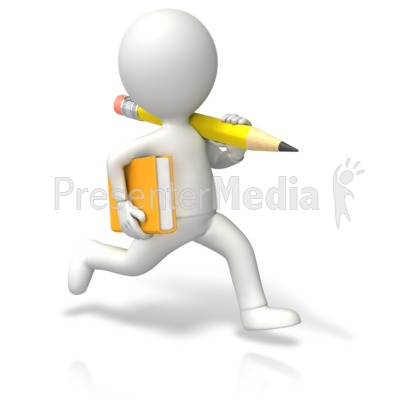 Running Book Pencil Presentation clipart