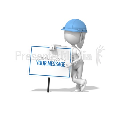 Woman Lean Construction Sign Presentation clipart