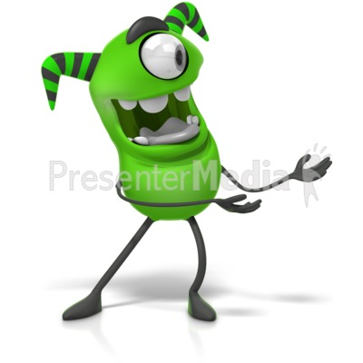 M Monster Gesturing To The Side Clip Presentation clipart