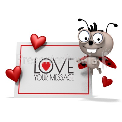 Love Bug Beside Sign Presentation clipart