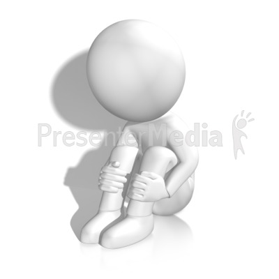 Sad Figure By Wall Presentation clipart