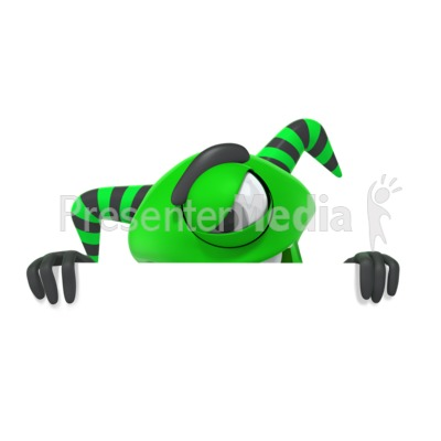 Monster Hiding Behind Wall Presentation clipart