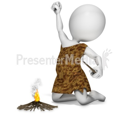 Caveman Start Fire Presentation clipart