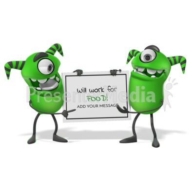 Monsters Holding Sign Presentation clipart