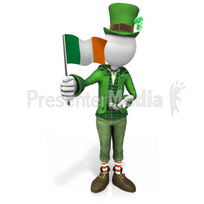 Irish Figure Waving Flag Presentation clipart