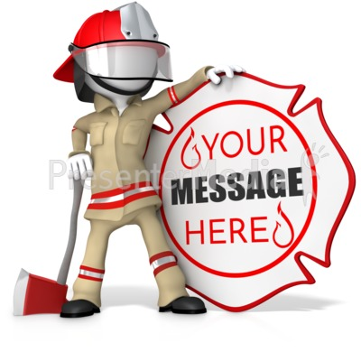 Fire Fighter Standing By Custom Sign Presentation clipart