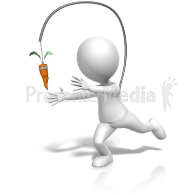 Figure Chasing Dangling Carrot Presentation clipart