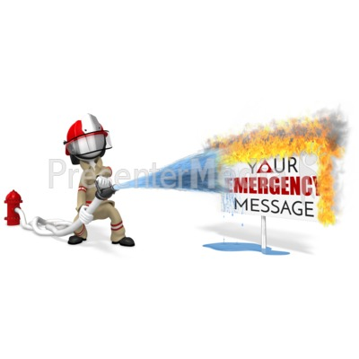 Firefighter Putting Out Sign Fire Presentation clipart