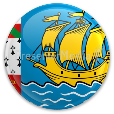 Flag Saint Pierre And Miquelon Button Presentation clipart