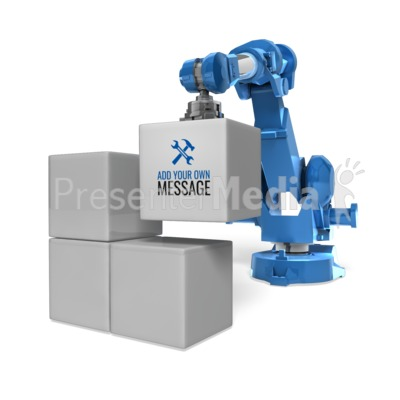 Robot Arm Stack Blocks Presentation clipart
