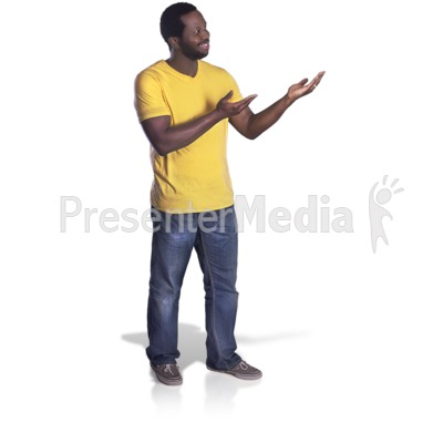 Man Presenting To The Side Presentation clipart