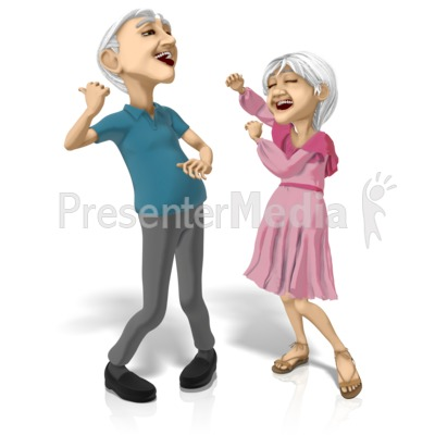 Old Couple Dancing Machines Presentation clipart