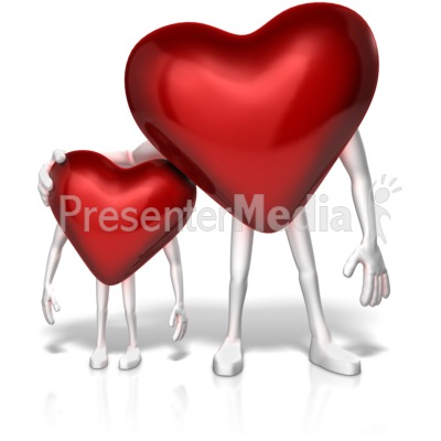 Big Heart Shows Compassion to Small One Presentation clipart