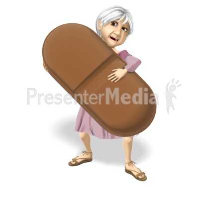 Martha Hold Giant Pill Presentation clipart