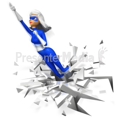 Supergal Flying Upward Boom Presentation clipart