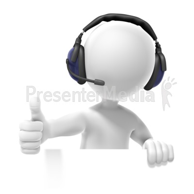 Figure Headset Thumbs Up Presentation clipart