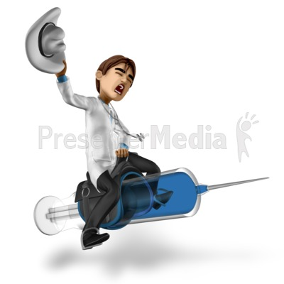 Doctor Simon Riding Syringe Presentation clipart