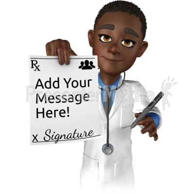 Doctor Ethan Holding Rx Paper Presentation clipart