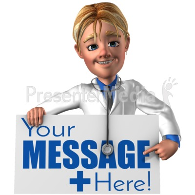 Doctor Simon Holding Pointing At Sign Presentation clipart