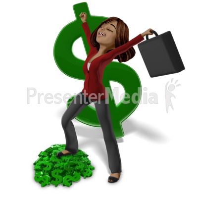 Talia On Money Pile Presentation clipart