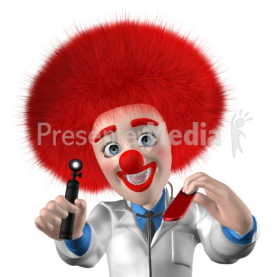 Clown Doctor Saying Open Up Say Ahh Presentation clipart