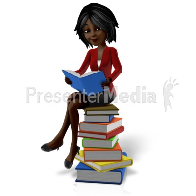 Talia Sitting On Pile Of Books Presentation clipart