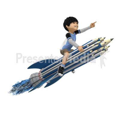 Boy On Pencil Rocket Presentation clipart
