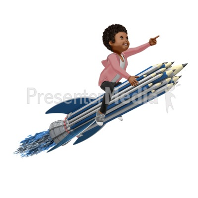 Girl On Pencil Rocket Presentation clipart
