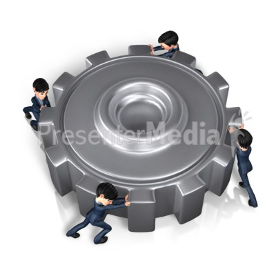 Businessmen Push Gear Presentation clipart