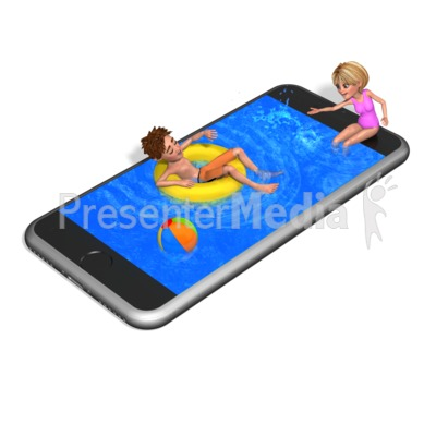 Smart Phone Swimming Pool Presentation clipart