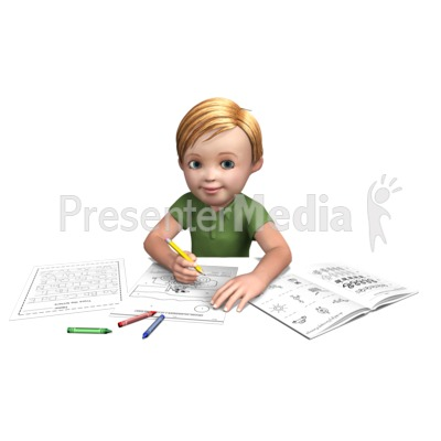 Timmy Doing Homework Presentation clipart
