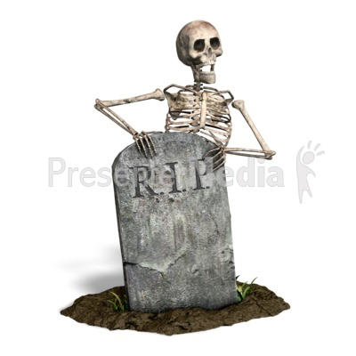 Skeleton By Tombstone Presentation clipart