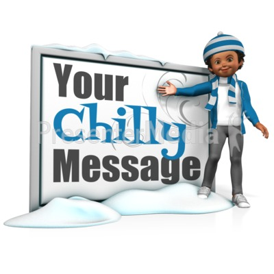 Girl In Scarf Next To Message Board Presentation clipart