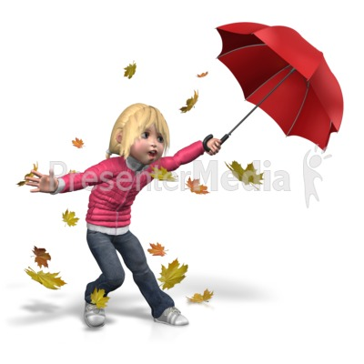 Sally Windy Umbrella Presentation clipart