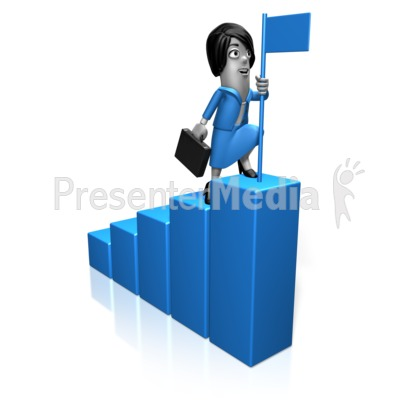 Biz Woman Bar Graph Flag Presentation clipart