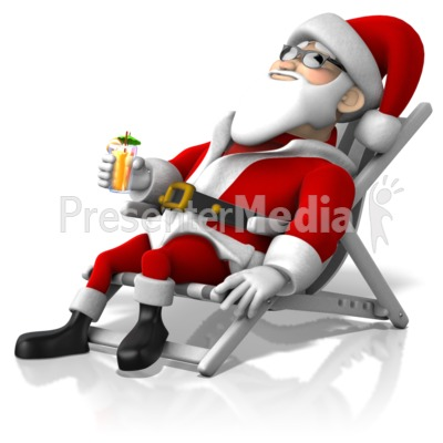 Santa At Beach Presentation clipart