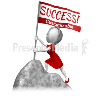 Woman Stake Flag Mountain Summit Presentation clipart