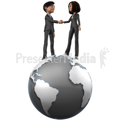 Tailia Brad Shake Hands On Top World Presentation clipart
