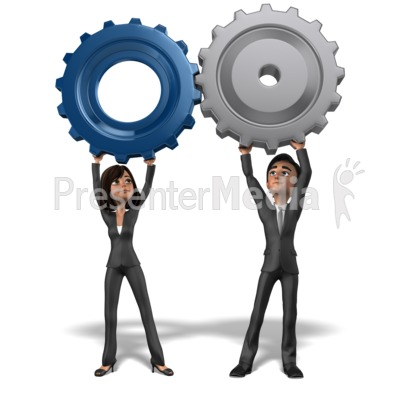 Business Team Holding Gears Together Presentation clipart