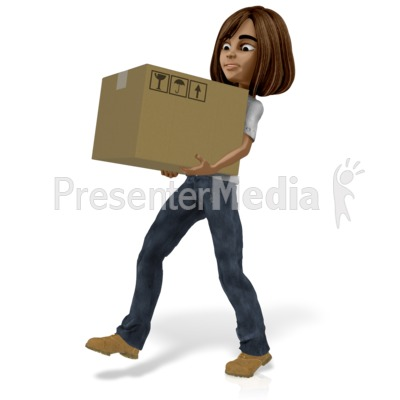 Talia Carrying Heavy Box Presentation clipart